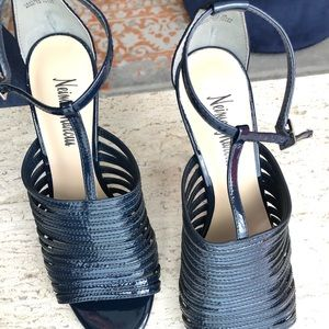 Neiman Marcus Navy Blue Strappy Stilettos Sz 8